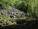Kamenná lavina na levém břehu Chrudimky v chráněném území Krkanka.